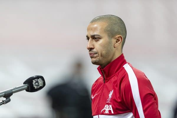 LIVERPOOL, ENGLAND - Sunday, January 17, 2021: Liverpool's Thiago Alcantara is interviewed by LFC.TV after the FA Premier League match between Liverpool FC and Manchester United FC at Anfield. (Pic by David Rawcliffe/Propaganda)