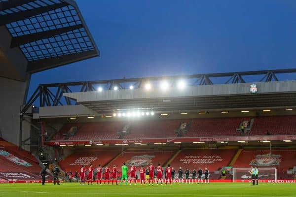 LIVERPOOL, ENGLAND - Sunday, January 17, 2021: Liverpool and Manchester United players stand to remember the late Gerry Marsden before the FA Premier League match between Liverpool FC and Manchester United FC at Anfield. (Pic by David Rawcliffe/Propaganda)