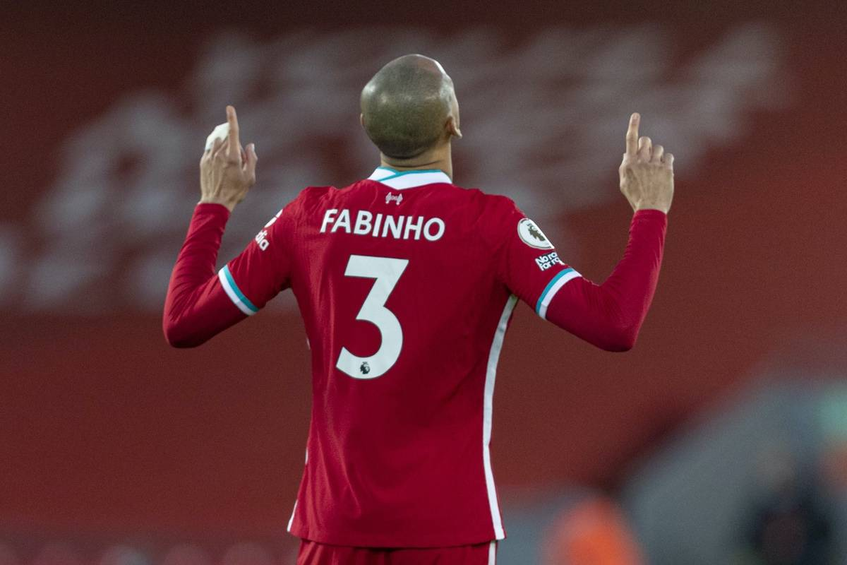 LIVERPOOL, ENGLAND - Sunday, January 17, 2021: Liverpool's Fabio Henrique Tavares 'Fabinho' prays before the FA Premier League match between Liverpool FC and Manchester United FC at Anfield. (Pic by David Rawcliffe/Propaganda)