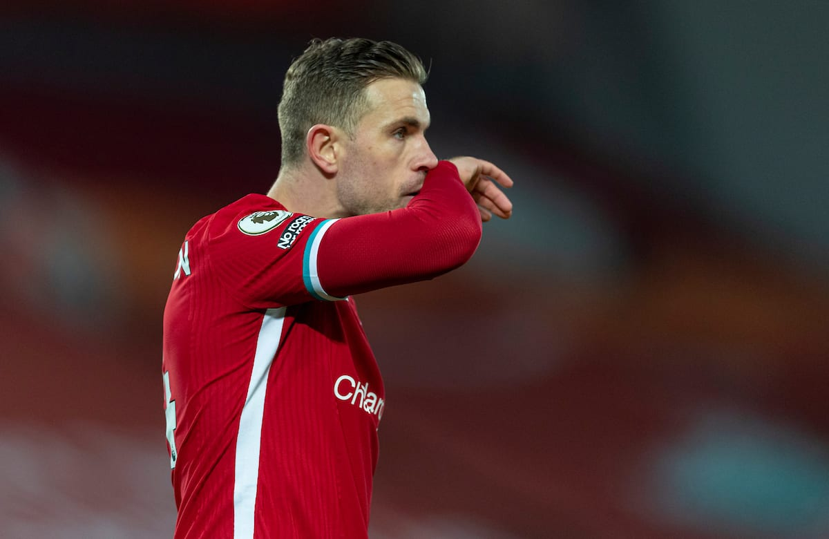 LIVERPOOL, ENGLAND - Sunday, January 17, 2021: Liverpool's captain Jordan Henderson during the FA Premier League match between Liverpool FC and Manchester United FC at Anfield. (Pic by David Rawcliffe/Propaganda)