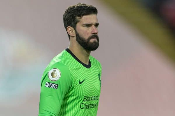LIVERPOOL, ENGLAND - Sunday, January 17, 2021: Liverpool's goalkeeper Alisson Becker during the FA Premier League match between Liverpool FC and Manchester United FC at Anfield. (Pic by David Rawcliffe/Propaganda)