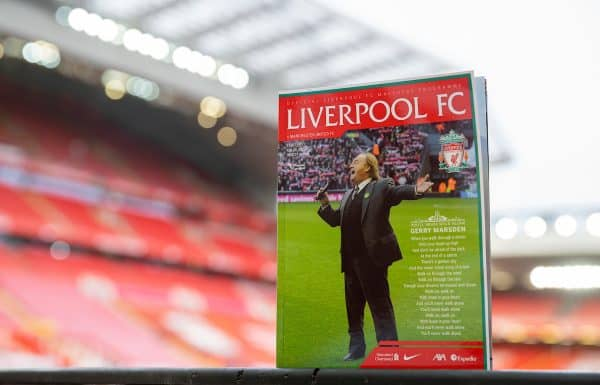 LIVERPOOL, ENGLAND - Sunday, January 17, 2021: Liverpool's official match-day programme, featuring the late Gerry Marsden on the cover, pictured before the FA Premier League match between Liverpool FC and Manchester United FC at Anfield. (Pic by David Rawcliffe/Propaganda)