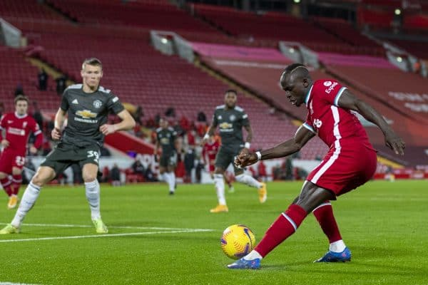 LIVERPOOL, ENGLAND - Sunday, January 17, 2021: Liverpool's Sadio Mané during the FA Premier League match between Liverpool FC and Manchester United FC at Anfield. (Pic by David Rawcliffe/Propaganda)