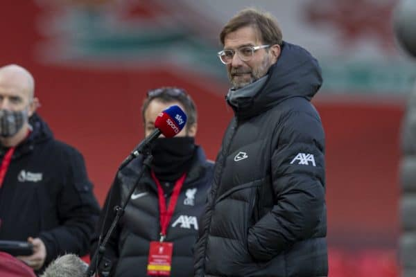 LIVERPOOL, ENGLAND - Sunday, January 17, 2021: Liverpool's manager Jürgen Klopp before the FA Premier League match between Liverpool FC and Manchester United FC at Anfield. (Pic by David Rawcliffe/Propaganda)