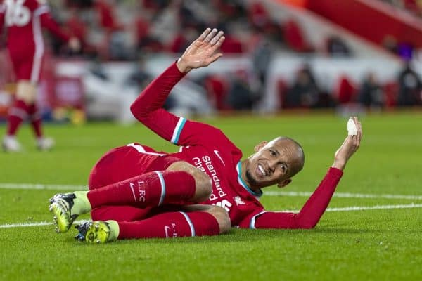 LIVERPOOL, ENGLAND - Thursday, January 21, 2021: Liverpool's Fabio Henrique Tavares 'Fabinho' goes down injured during the FA Premier League match between Liverpool FC and Burnley FC at Anfield. (Pic by David Rawcliffe/Propaganda)