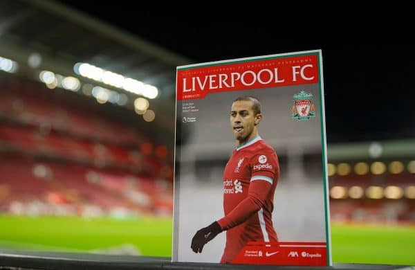 LIVERPOOL, ENGLAND - Thursday, January 21, 2021: The official matchday programme, featuring Thiago Alcantara on the cover, pictured before the FA Premier League match between Liverpool FC and Burnley FC at Anfield. (Pic by David Rawcliffe/Propaganda)
