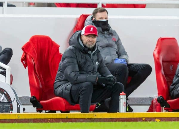 LIVERPOOL, ENGLAND - Thursday, January 21, 2021: Liverpool's manager Jürgen Klopp during the FA Premier League match between Liverpool FC and Burnley FC at Anfield. (Pic by David Rawcliffe/Propaganda)