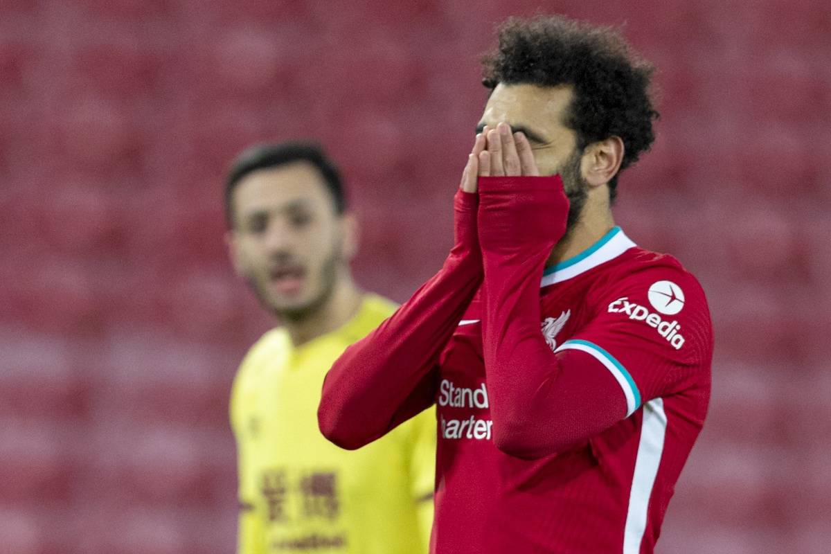 LIVERPOOL, ENGLAND - Thursday, January 21, 2021: Liverpool's Mohamed Salah looks dejected after missing a chance during the FA Premier League match between Liverpool FC and Burnley FC at Anfield. (Pic by David Rawcliffe/Propaganda)