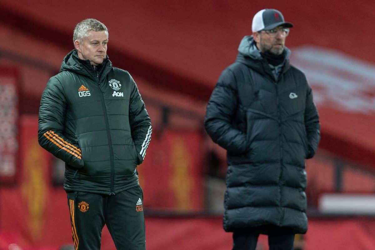 LIVERPOOL, ENGLAND - Sunday, January 24, 2021: Manchester United's manager Ole Gunnar Solskjær (L) and manager Jürgen Klopp during the FA Cup 4th Round match between Manchester United FC and Liverpool FC at Old Trafford. (Pic by David Rawcliffe/Propaganda)