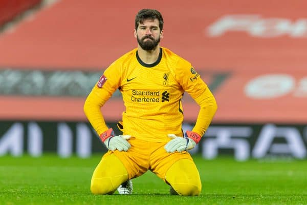 LIVERPOOL, ENGLAND - Sunday, January 24, 2021: Liverpool's goalkeeper Alisson Becker looks dejected as Manchester United score the second goal during the FA Cup 4th Round match between Manchester United FC and Liverpool FC at Old Trafford. (Pic by David Rawcliffe/Propaganda)