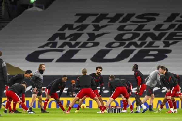 LONDON, ENGLAND - Thursday, January 28, 2021: Liverpool's Mohamed Salah and team-mates during the pre-match warm-up before the FA Premier League match between Tottenham Hotspur FC and Liverpool FC at the Tottenham Hotspur Stadium. (Pic by Propaganda)