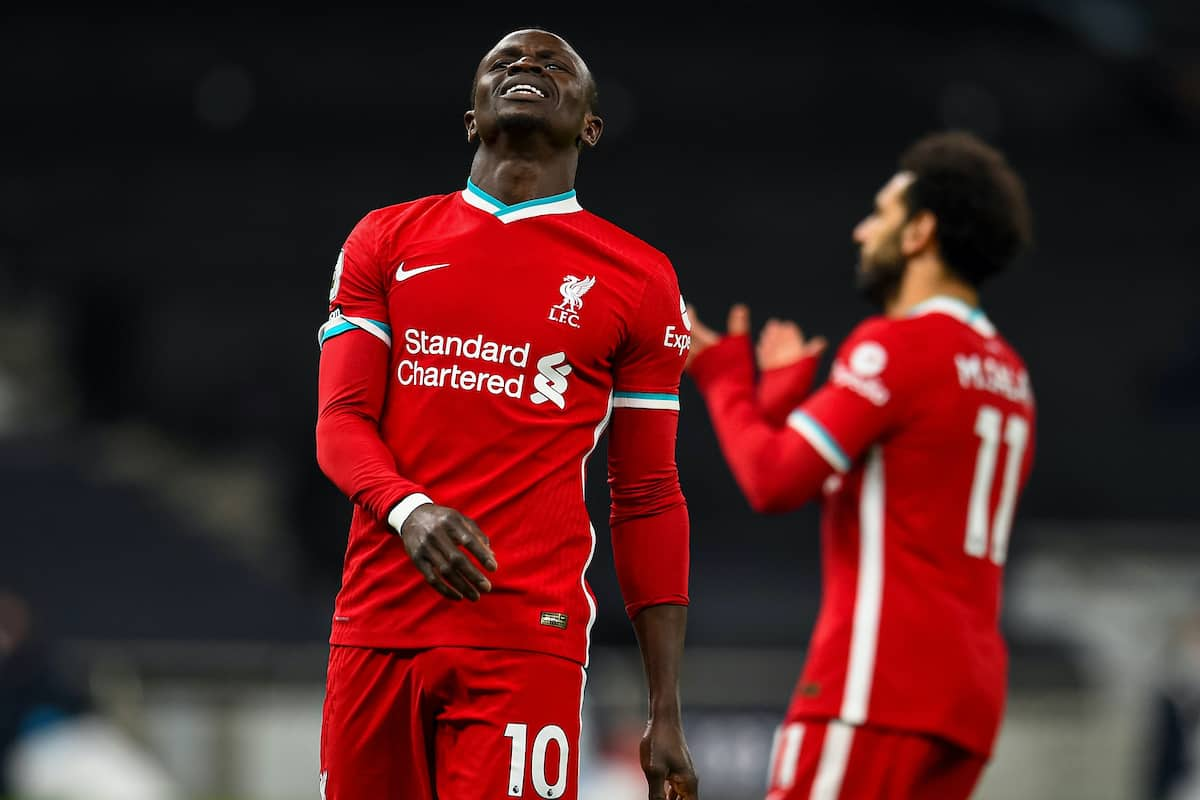 LONDON, ENGLAND - Thursday, January 28, 2021: Liverpool's Sadio Mané looks dejected after missing a chance during the FA Premier League match between Tottenham Hotspur FC and Liverpool FC at the Tottenham Hotspur Stadium. (Pic by Propaganda)