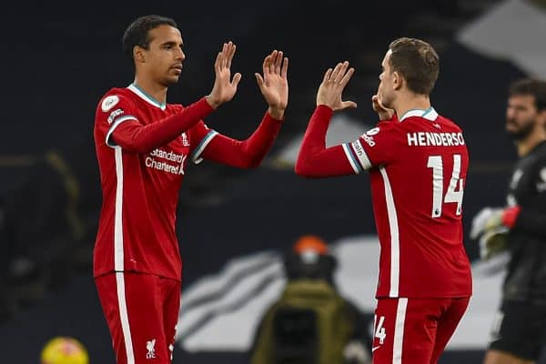 LONDON, ENGLAND - Thursday, January 28, 2021: Liverpool's Joel Matip (L) and captain Jordan Henderson before the FA Premier League match between Tottenham Hotspur FC and Liverpool FC at the Tottenham Hotspur Stadium. (Pic by Propaganda)