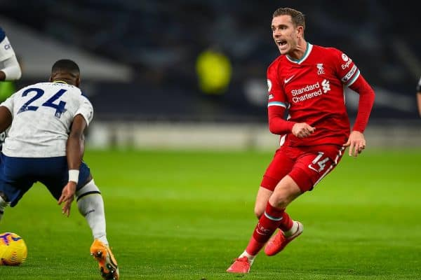 LONDON, ENGLAND - Thursday, January 28, 2021: Liverpool's captain Jordan Henderson during the FA Premier League match between Tottenham Hotspur FC and Liverpool FC at the Tottenham Hotspur Stadium. (Pic by Propaganda)