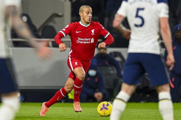 LONDON, ENGLAND - Thursday, January 28, 2021: Liverpool's Thiago Alcantara during the FA Premier League match between Tottenham Hotspur FC and Liverpool FC at the Tottenham Hotspur Stadium. (Pic by Propaganda)