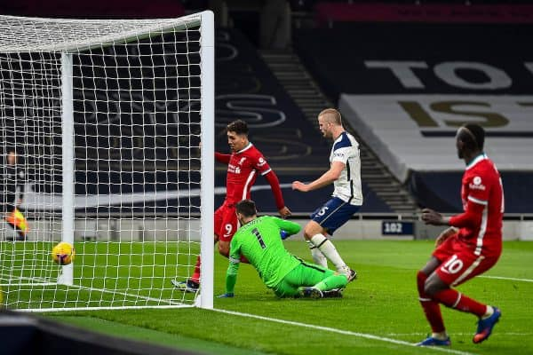 LONDON, ENGLAND - Thursday, January 28, 2021: Liverpool's Roberto Firmino scores the first goal with the last kick of the first half during the FA Premier League match between Tottenham Hotspur FC and Liverpool FC at the Tottenham Hotspur Stadium. (Pic by Propaganda)