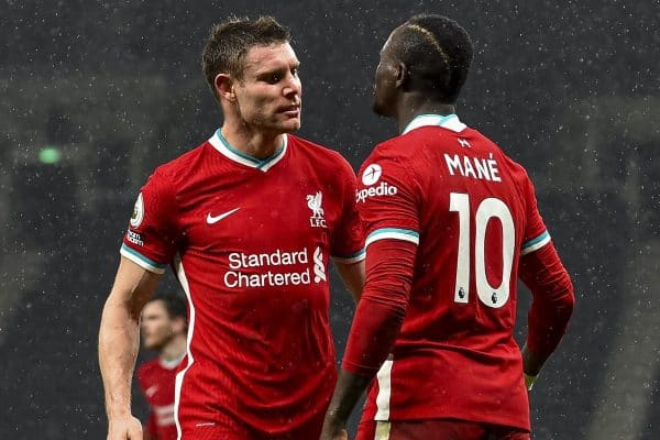 LONDON, ENGLAND - Thursday, January 28, 2021: Liverpool's Sadio Mané (R) celebrates with team-mate James Milner after scoring the third goal during the FA Premier League match between Tottenham Hotspur FC and Liverpool FC at the Tottenham Hotspur Stadium. (Pic by Propaganda)