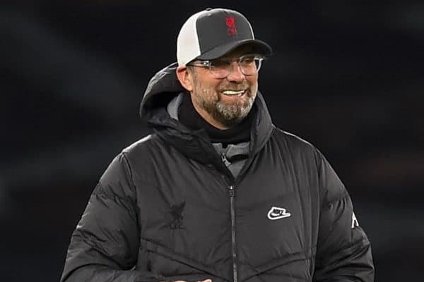 LONDON, ENGLAND - Thursday, January 28, 2021: Liverpool's manager Jürgen Klopp during the pre-match warm-up before the FA Premier League match between Tottenham Hotspur FC and Liverpool FC at the Tottenham Hotspur Stadium. (Pic by Propaganda)