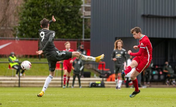KIRKBY, ENGLAND - Saturday, January 30, 2021: Liverpool's Tyler Morton scores his side's first goal to make the score 1-2 during the Premier League 2 Division 1 match between Liverpool FC Under-23's and Manchester United FC Under-23's at the Liverpool Academy. (Pic by David Rawcliffe/Propaganda)
