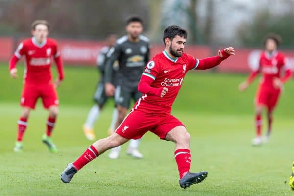 KIRKBY, ENGLAND - Saturday, January 30, 2021: Liverpool's substitute Joe Hardy during the Premier League 2 Division 1 match between Liverpool FC Under-23's and Manchester United FC Under-23's at the Liverpool Academy. (Pic by David Rawcliffe/Propaganda)