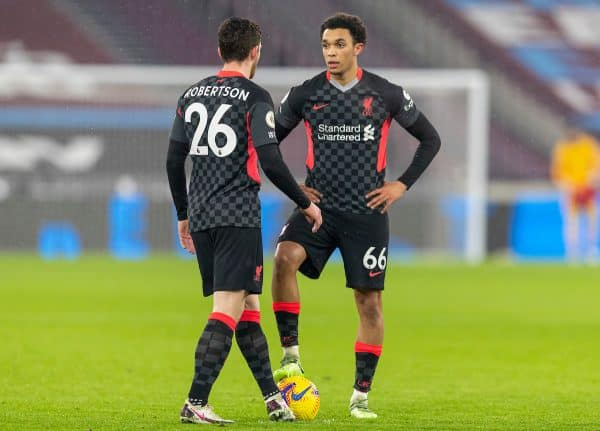 LONDON, ENGLAND - Sunday, January 31, 2021: Liverpool's Trent Alexander-Arnold (R) and Andy Robertson during the FA Premier League match between West Ham United FC and Liverpool FC at the London Stadium. (Pic by David Rawcliffe/Propaganda)
