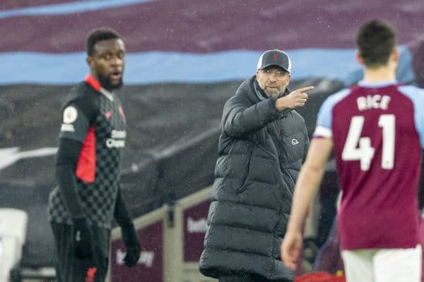 LONDON, ENGLAND - Sunday, January 31, 2021: Liverpool's manager Jürgen Klopp during the FA Premier League match between West Ham United FC and Liverpool FC at the London Stadium. (Pic by David Rawcliffe/Propaganda)