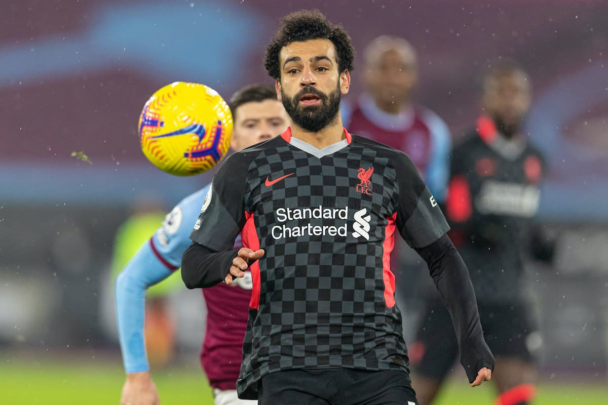 LONDON, ENGLAND - Sunday, January 31, 2021: Liverpool's Mohamed Salah during the FA Premier League match between West Ham United FC and Liverpool FC at the London Stadium. (Pic by David Rawcliffe/Propaganda)