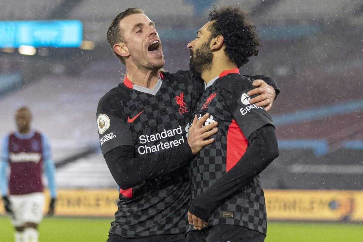 LONDON, ENGLAND - Sunday, January 31, 2021: Liverpool's Mohamed Salah celebrates with team-mate captain Jordan Henderson (L) after scoring the second goal during the FA Premier League match between West Ham United FC and Liverpool FC at the London Stadium. (Pic by David Rawcliffe/Propaganda)