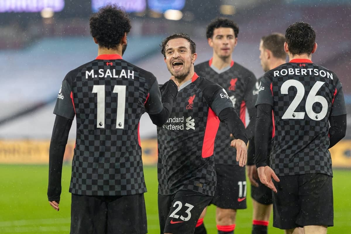 LONDON, ENGLAND - Sunday, January 31, 2021: Liverpool's Mohamed Salah celebrates with team-mate captain Jordan Henderson (R) after scoring the second goal during the FA Premier League match between West Ham United FC and Liverpool FC at the London Stadium. (Pic by David Rawcliffe/Propaganda)