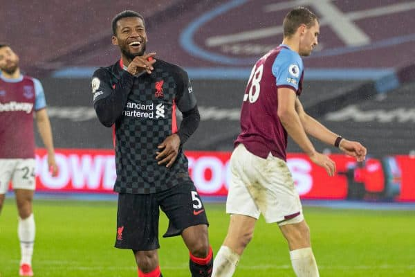 LONDON, ENGLAND - Sunday, January 31, 2021: Liverpool's Georginio Wijnaldum celebrates after scoring the third goalduring the FA Premier League match between West Ham United FC and Liverpool FC at the London Stadium. (Pic by David Rawcliffe/Propaganda)