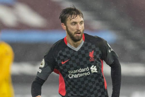 LONDON, ENGLAND - Sunday, January 31, 2021: Liverpool's Nathaniel Phillips during the FA Premier League match between West Ham United FC and Liverpool FC at the London Stadium. (Pic by David Rawcliffe/Propaganda)
