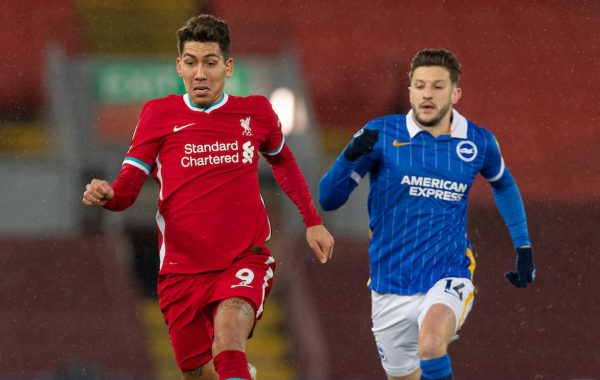 LIVERPOOL, ENGLAND - Wednesday, February 3, 2021: Liverpool's Roberto Firmino during the FA Premier League match between Liverpool FC and Brighton & Hove Albion FC at Anfield. (Pic by David Rawcliffe/Propaganda)
