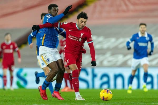 LIVERPOOL, ENGLAND - Wednesday, February 3, 2021: Liverpool's Alex Oxlade-Chamberlain (R) and Brighton & Hove Albion's Yves Bissouma during the FA Premier League match between Liverpool FC and Brighton & Hove Albion FC at Anfield. (Pic by David Rawcliffe/Propaganda)