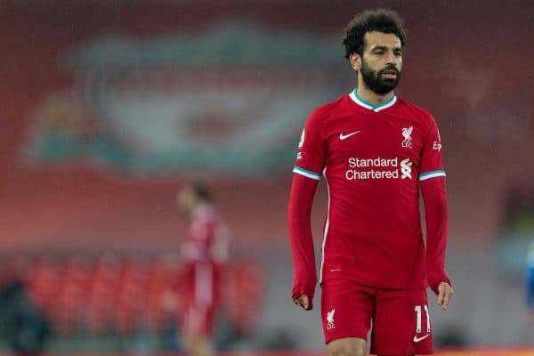 LIVERPOOL, ENGLAND - Wednesday, February 3, 2021: Liverpool's Mohamed Salah during the FA Premier League match between Liverpool FC and Brighton & Hove Albion FC at Anfield. (Pic by David Rawcliffe/Propaganda)