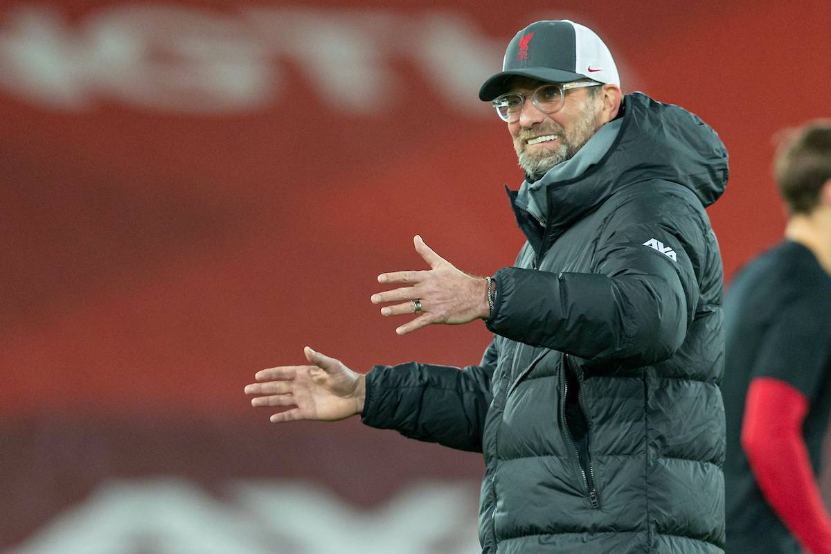 LIVERPOOL, ENGLAND - Wednesday, February 3, 2021: Liverpool's manager Jürgen Klopp during the pre-match warm-up before the FA Premier League match between Liverpool FC and Brighton & Hove Albion FC at Anfield. (Pic by David Rawcliffe/Propaganda)