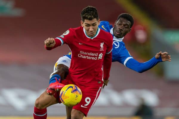LIVERPOOL, ENGLAND - Wednesday, February 3, 2021: Liverpool's Roberto Firmino and Brighton & Hove Albion's Yves Bissouma during the FA Premier League match between Liverpool FC and Brighton & Hove Albion FC at Anfield. (Pic by David Rawcliffe/Propaganda)