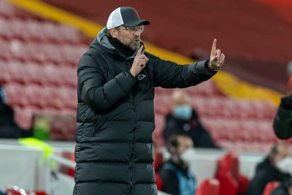 LIVERPOOL, ENGLAND - Wednesday, February 3, 2021: Liverpool's manager Jürgen Klopp during the FA Premier League match between Liverpool FC and Brighton & Hove Albion FC at Anfield. (Pic by David Rawcliffe/Propaganda)