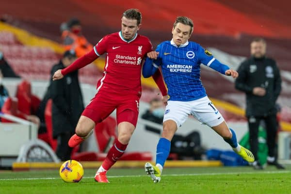 LIVERPOOL, ENGLAND - Wednesday, February 3, 2021: Liverpool's captain Jordan Henderson (L) and Brighton & Hove Albion's Leandro Trossard during the FA Premier League match between Liverpool FC and Brighton & Hove Albion FC at Anfield. (Pic by David Rawcliffe/Propaganda)