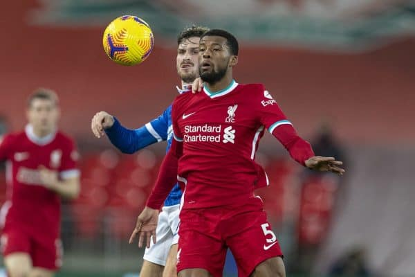 LIVERPOOL, ENGLAND - Wednesday, February 3, 2021: Liverpool's Georginio Wijnaldum (R) and Brighton & Hove Albion's Pascal Gross during the FA Premier League match between Liverpool FC and Brighton & Hove Albion FC at Anfield. (Pic by David Rawcliffe/Propaganda)