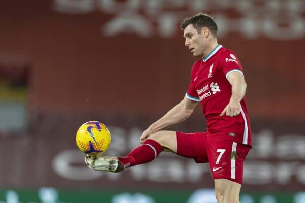 LIVERPOOL, ENGLAND - Wednesday, February 3, 2021: Liverpool's James Milner during the FA Premier League match between Liverpool FC and Brighton & Hove Albion FC at Anfield. (Pic by David Rawcliffe/Propaganda)
