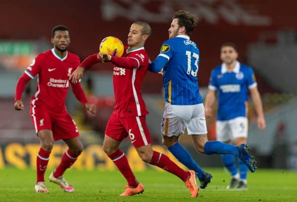 LIVERPOOL, ENGLAND - Wednesday, February 3, 2021: Liverpool's Thiago Alcantara (L) and Brighton & Hove Albion's Pascal Gross during the FA Premier League match between Liverpool FC and Brighton & Hove Albion FC at Anfield. (Pic by David Rawcliffe/Propaganda)