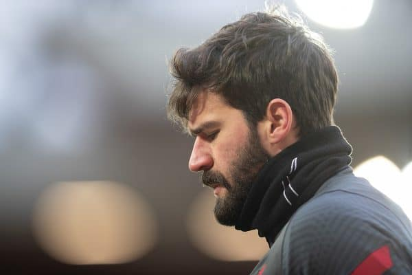 LIVERPOOL, ENGLAND - Sunday, February 7, 2021: Liverpool's goalkeeper Alisson Becker during the pre-match warm-up before the FA Premier League match between Liverpool FC and Manchester City FC at Anfield. (Pic by David Rawcliffe/Propaganda)