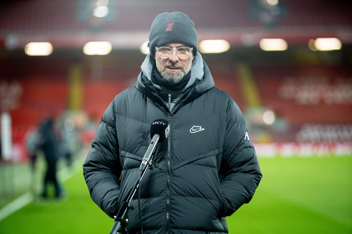 LIVERPOOL, ENGLAND - Sunday, February 7, 2021: Liverpool's manager Jürgen Klopp is interviewed after the FA Premier League match between Liverpool FC and Manchester City FC at Anfield. (Pic by David Rawcliffe/Propaganda)
