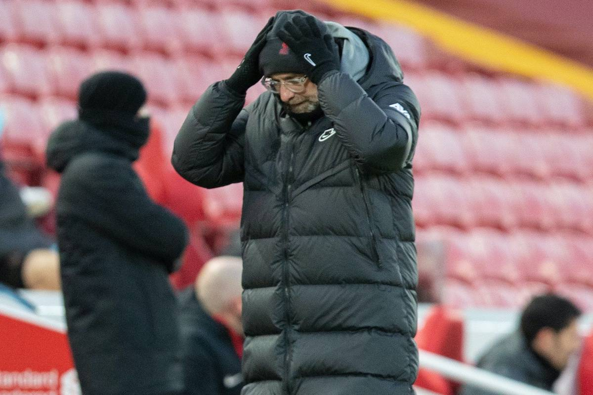 LIVERPOOL, ENGLAND - Sunday, February 7, 2021: Liverpool's manager Jürgen Klopp reacts during the FA Premier League match between Liverpool FC and Manchester City FC at Anfield. (Pic by David Rawcliffe/Propaganda)