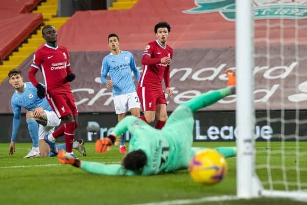 LIVERPOOL, ENGLAND - Sunday, February 7, 2021: Liverpool's Curtis Jones sees his shot go wide during the FA Premier League match between Liverpool FC and Manchester City FC at Anfield. (Pic by David Rawcliffe/Propaganda)