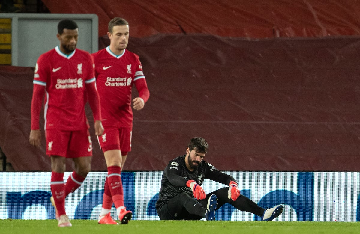 LIVERPOOL, ENGLAND - Sunday, February 7, 2021: Liverpool's goalkeeper Alisson Becker looks dejected as Manchester City score the second goal during the FA Premier League match between Liverpool FC and Manchester City FC at Anfield. (Pic by David Rawcliffe/Propaganda)