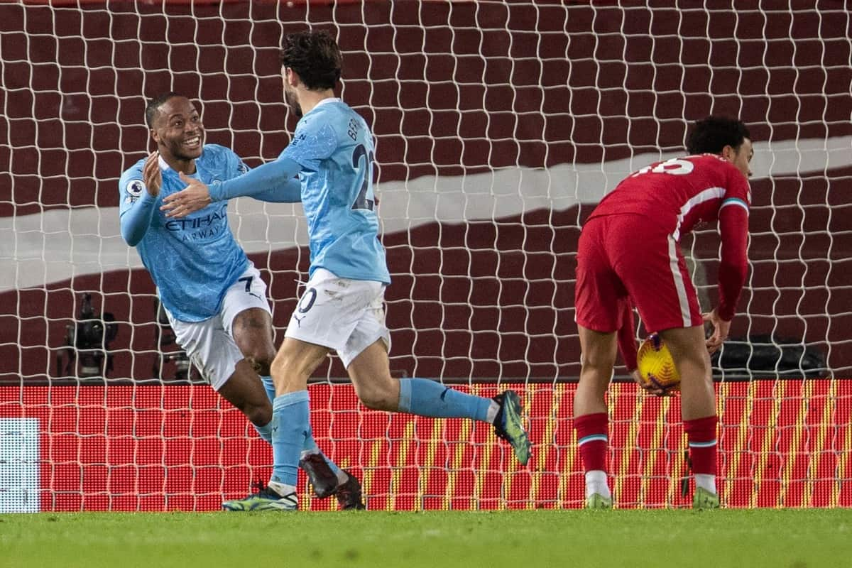 LIVERPOOL, ENGLAND - Sunday, February 7, 2021: Manchester City's Raheem Sterling celebrates after scoring the third goal during the FA Premier League match between Liverpool FC and Manchester City FC at Anfield. (Pic by David Rawcliffe/Propaganda)