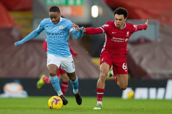 LIVERPOOL, ENGLAND - Sunday, February 7, 2021: Manchester City's Raheem Sterling (L) and Liverpool's Trent Alexander-Arnold during the FA Premier League match between Liverpool FC and Manchester City FC at Anfield. (Pic by David Rawcliffe/Propaganda)