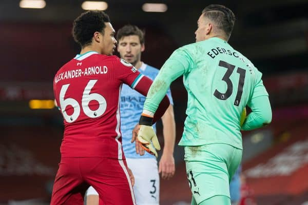 LIVERPOOL, ENGLAND - Sunday, February 7, 2021: Manchester City's goalkeeper Ederson Santana de Moraes challenges Liverpool's Trent Alexander-Arnold during the FA Premier League match between Liverpool FC and Manchester City FC at Anfield. (Pic by David Rawcliffe/Propaganda)