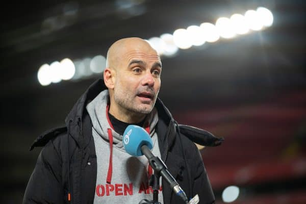 LIVERPOOL, ENGLAND - Sunday, February 7, 2021: Manchester City's manager Josep 'Pep' Guardiola is interviewed after the FA Premier League match between Liverpool FC and Manchester City FC at Anfield. (Pic by David Rawcliffe/Propaganda)